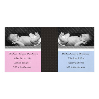 Classic Twin Girl Boy Double New Baby Photo Cards