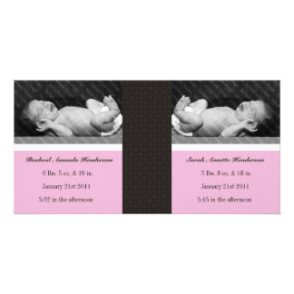 Classic Twin Girls Double New Baby Photo Cards