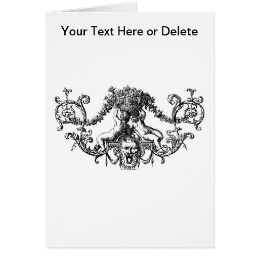 Classic Two Cherubs with Ivy and Flowers Greeting Cards