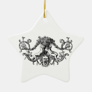 Classic Two Cherubs with Ivy and Flowers Ceramic Ornament