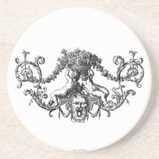 Classic Two Cherubs with Ivy and Flowers Drink Coaster