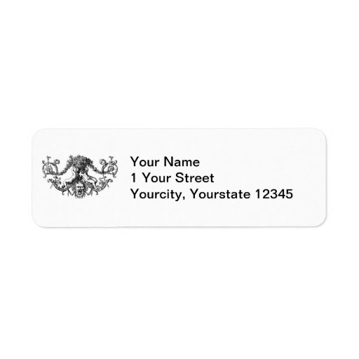 Classic Two Cherubs with Ivy and Flowers Return Address Labels