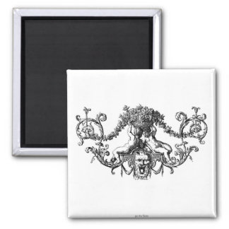 Classic Two Cherubs with Ivy and Flowers Magnet