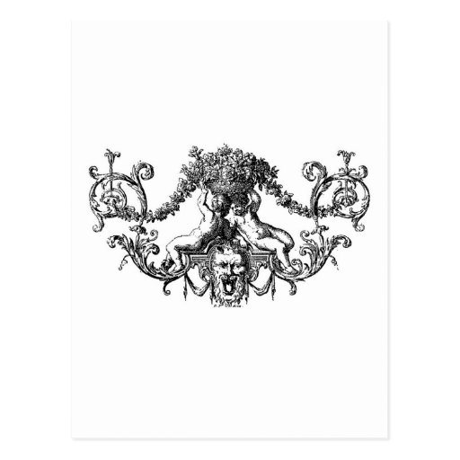 Classic Two Cherubs with Ivy and Flowers Postcards