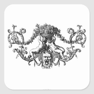 Classic Two Cherubs with Ivy and Flowers Square Sticker
