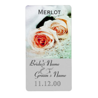 Classic two roses wedding wine bottle lable label