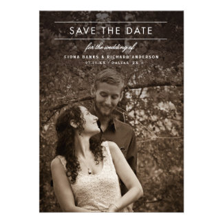 Classic Type Wedding Photo Save the Date Personalized Invites