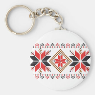 Classic Ugly Christmas Sweater Print Basic Round Button Keychain
