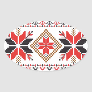 Classic Ugly Christmas Sweater Print Oval Sticker