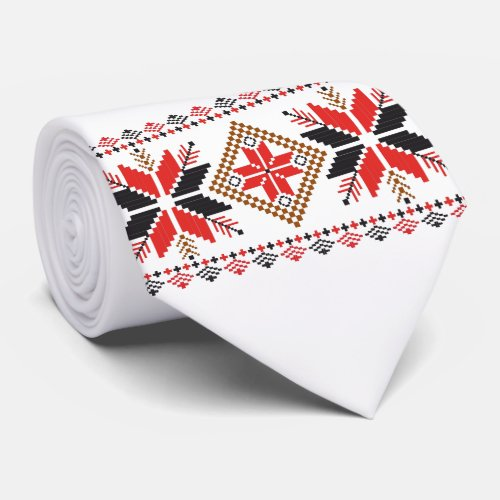 Classic Ugly Christmas Sweater Print Tie