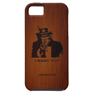 Classic Uncle Sam & Custom Name Luxury Rosewood iPhone 5 Cover