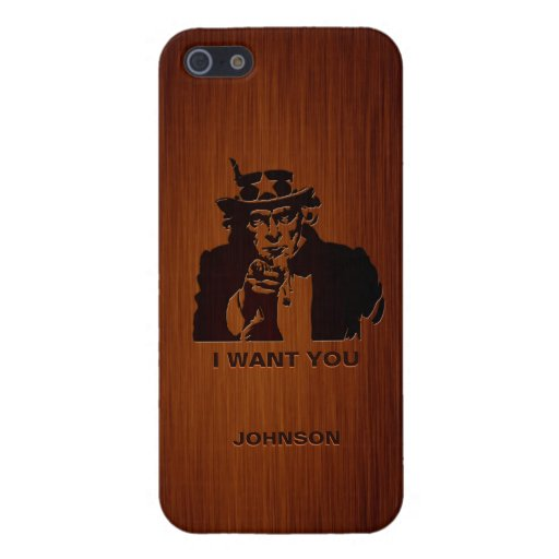 Classic Uncle Sam & Custom Name Luxury Rosewood iPhone 5 Covers
