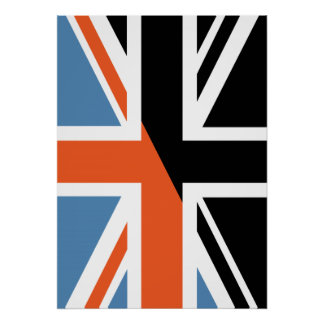 Classic Union Jack British(UK) Flag with Black Posters