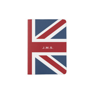 Classic Union Jack Flag Monogrammed Passport Holder