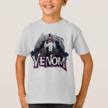 """Classic Venom Yell Character Art T-Shirt<br><div class=""""desc"""">This classic character art of Venom shows him in a wide stance,  arms tensed outwards,  and mouth wide in a yell. Tendrils of the symbiote reach out from the tops of his shoulders.</div>"""