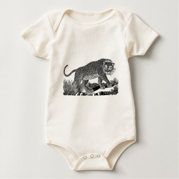 USA Themed Classic Victorian Etching  - Leopard Baby Bodysuit