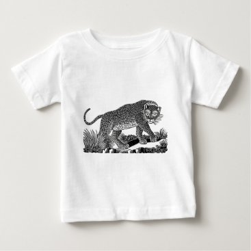 USA Themed Classic Victorian Etching  - Leopard Baby T-Shirt