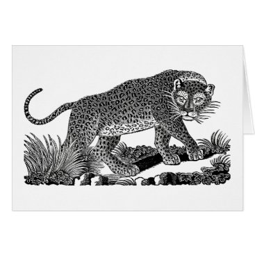 USA Themed Classic Victorian Etching  - Leopard Card