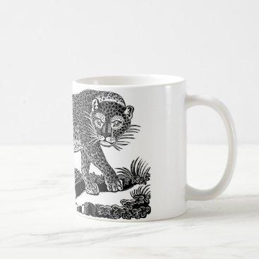 USA Themed Classic Victorian Etching  - Leopard Coffee Mug