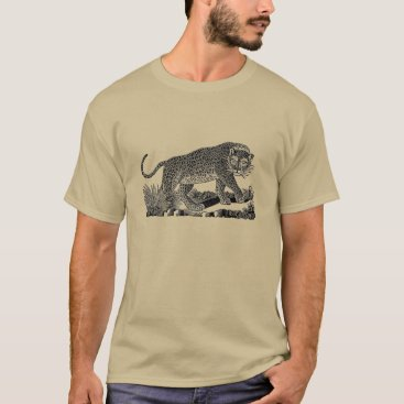 USA Themed Classic Victorian Etching  - Leopard T-Shirt