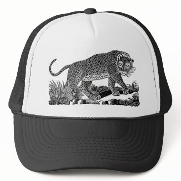 USA Themed Classic Victorian Etching  - Leopard Trucker Hat