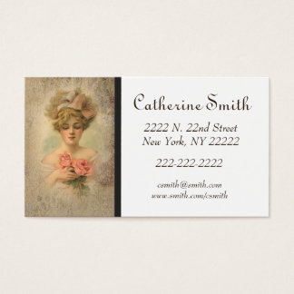 Classic Victorian Lady With Roses Business Card