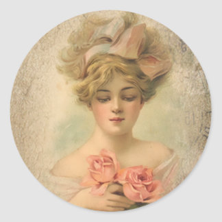 Classic Victorian Lady With Roses Stickers