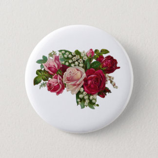 Classic Victorian Roses Lily of the Valley Romance Button