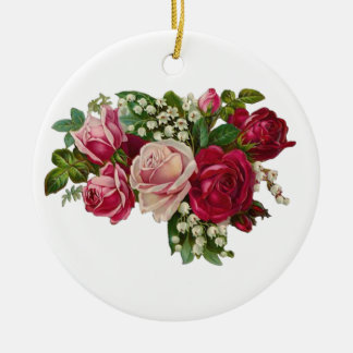 Classic Victorian Roses Lily of the Valley Romance Ceramic Ornament