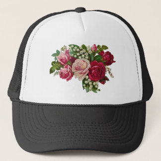 Classic Victorian Roses Lily of the Valley Romance Trucker Hat