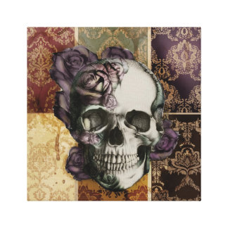 Classic victorian skull and roses canvas art.