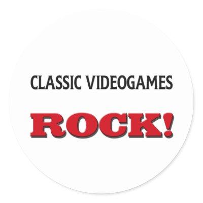 Classic Videogames Rock round sticker