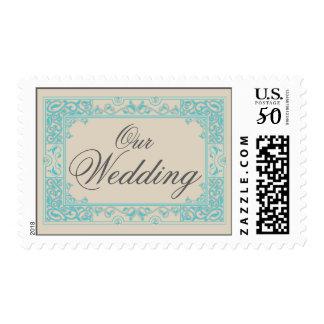Classic Vignette Our Wedding Postage (aqua)