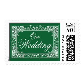 Classic Vignette Our Wedding Postage (green)
