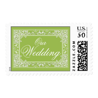 Classic Vignette Our Wedding Postage (lime)