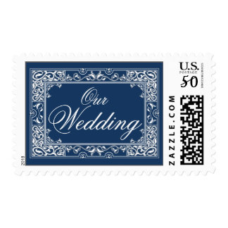 Classic Vignette Our Wedding Postage (navy)