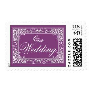 Classic Vignette Our Wedding Postage (purple)