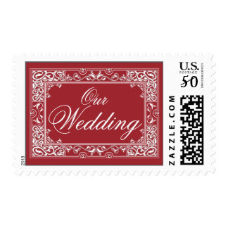 Classic Vignette Our Wedding Postage (red)