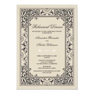 Classic Vignette Rehearsal Dinner Invite (black)