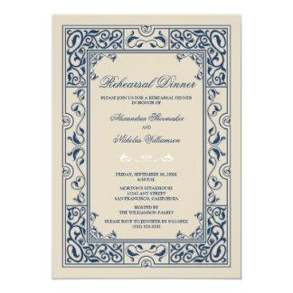 Classic Vignette Rehearsal Dinner Invite (blue)