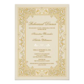 Classic Vignette Rehearsal Dinner Invite (gold)