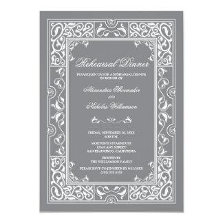 Classic Vignette Rehearsal Dinner Invite (grey)