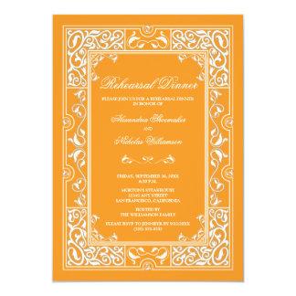 Classic Vignette Rehearsal Dinner Invite (orange)