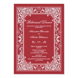Classic Vignette Rehearsal Dinner Invite (red)