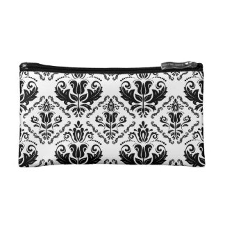 Classic Vintage Black White Damask Pattern Cosmetic Bag