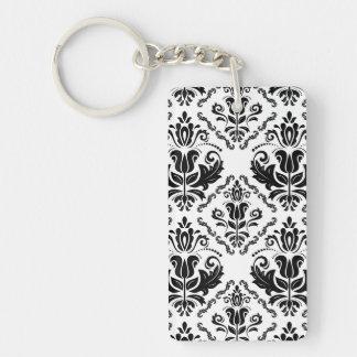 Classic Vintage Black White Damask Pattern Double-Sided Rectangular Acrylic Keychain
