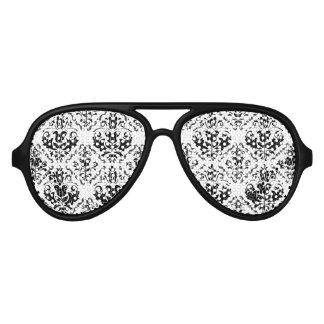 Classic Vintage Black White Damask Pattern Aviator Sunglasses