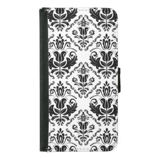 Classic Vintage Black White Damask Pattern Wallet Phone Case For Samsung Galaxy S5