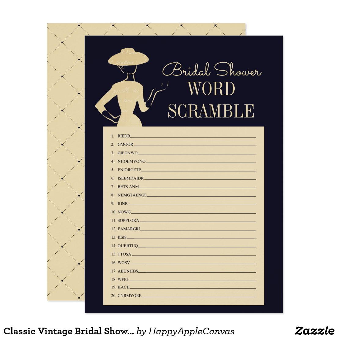 Classic Vintage Bridal Shower Word Scramble Card