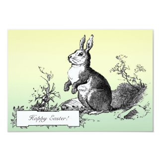 """Classic Vintage Bunny Easter Greetings Pastel 3.5"""" X 5"""" Invitation Card"""